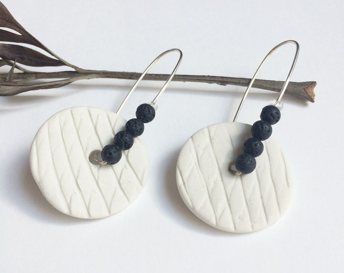 Porcelain circle earrings - black lava earrings - white ceramic earrings
