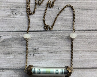 Paper tube necklace - medium size necklace - paper jewelry - bronze chain necklace - offer earrings - crystal beads - gift for her - classic