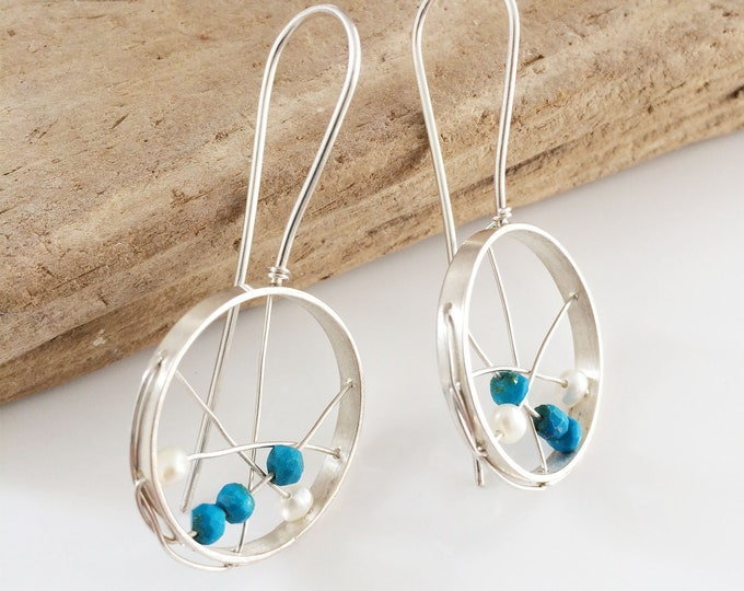 Sterling silver hoop earrings - open circle - statement hoop earrings - turquoise and freshwater pearls earrings - contemporary jewellery