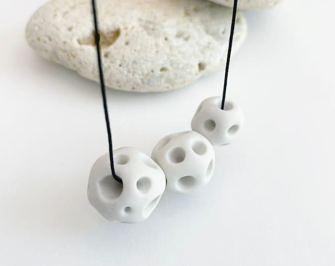 Minimalist porcelain moon necklace  - modern long white porcelain necklace