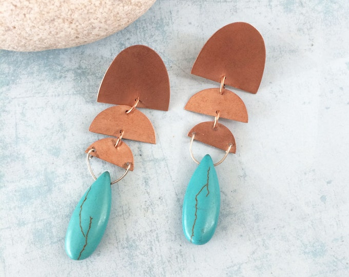 Statement dangle turquoise earrings - half moon copper earrings - geometric stud drop earrings - bohemian copper jewelry - gift for her