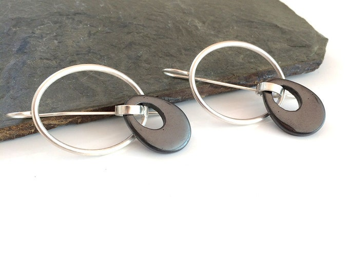Big statement oval earrings - modern hematite earrings