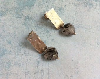 Rutilated quartz heart earrings - engraved silver stud earrings - small heart pendant earrings - gift for her - valentine gift for her