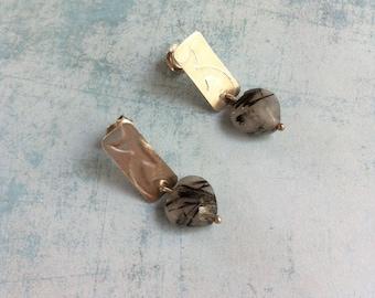 Stud silver earrings - Rutilated quartz heart shape earrings - engraved silver