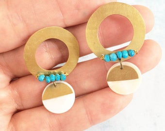 Stud circle brass earrings with turquoise - modern gemstone earrings