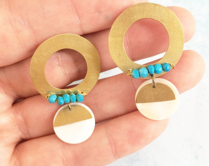 Open circle brass earrings - boho chic stud earrings - geometric earrings - turquoise and mother of pearl - dangle and drop -modern earrings