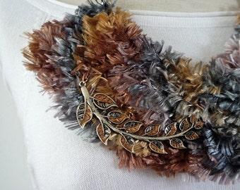 Fabric Asymmetrical Bib Necklace - statement necklace - textile necklace - crochet necklace - metal leaves