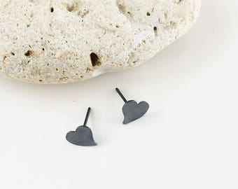 Stud heart earrings - oxidazed silver heart - tiny heart earrings - small heart earrings - delicate heart earrings - girly jewelry gift