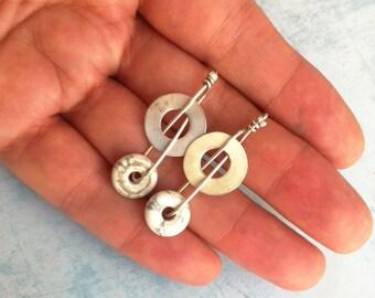 Long stud open circle earrings - modern white howlita earrings - geometric sterling silver earrings - gift for her - contemporary jewelry