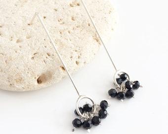 Bar stud earrings - stick sterling silver earrings - Long open circle earrings - beaded drop earrings - modern and contemporary jewellery