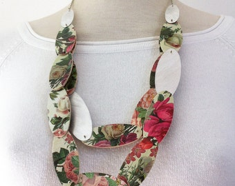 Statement floral paper necklace - roses necklace - paper wood and aluminum necklace - double face