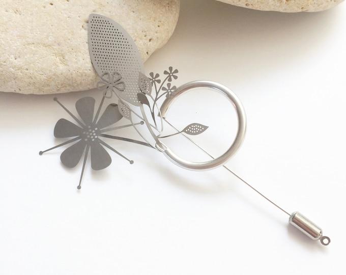 Statement silver floral brooch - modern brooch bouquet - flower steel pin