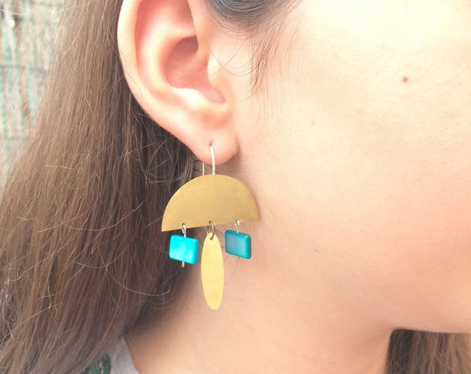 Statement half moon brass earrings - geometric turquoise earrings - boho chic gold earrings - tribal inspire jewelry - gift for her