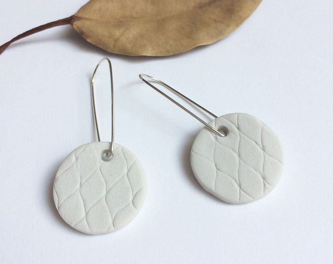 Porcelain circle earrings and silver - white porcelain jewelry - statement ceramic earrings - modern ceramic jewelry - contemporary jewelry