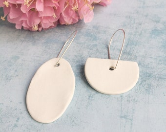 Mismatched geometric earrings - statement porcelain earrings - minimalist oversize earrings