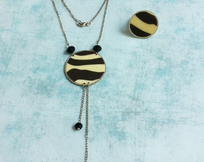 Zebra pattern print jewelry set - paper jewelry - circle adjustable ring -asymmetric pendant chain necklace -circle necklace -modern jewelry