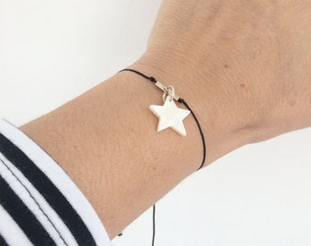 Charm bracelet sterling silver - star bracelet - mother of pearl star - minimalist bracelet - adjustable size - girlfriend gift - celestial