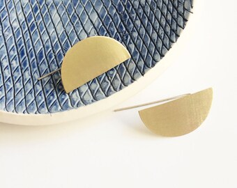 Minimalist half moon brass earrings - semicircle bar earrings