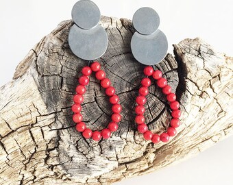 Stud rusty silver earrings - circle and drop shape earrings - natural red stones - teardrop earrings - unique earrings