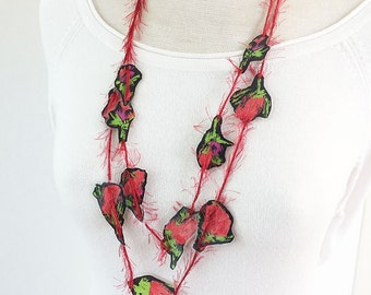 Floral tassel necklace - long 2 laps necklace - statement fabric necklace - textile jewellery - one of a kind necklace- gift for her - red