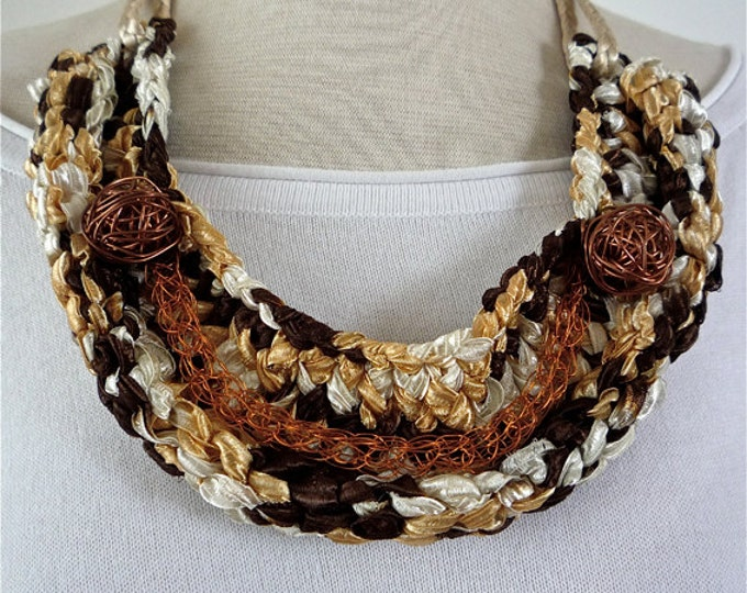 Bib textile necklace - crochet fabric necklace - statement necklace - copper necklace