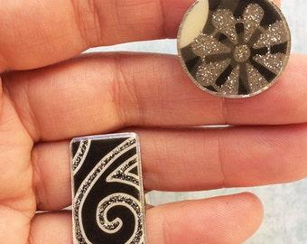 2 paper Rings - glitter rings - statement rings - resin rings - adjustable size