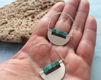 Sterling silver hoop earrings - half moon tribal earrings - turquoise beads - modern geometric earrings - contemporary jewelry -gift for her