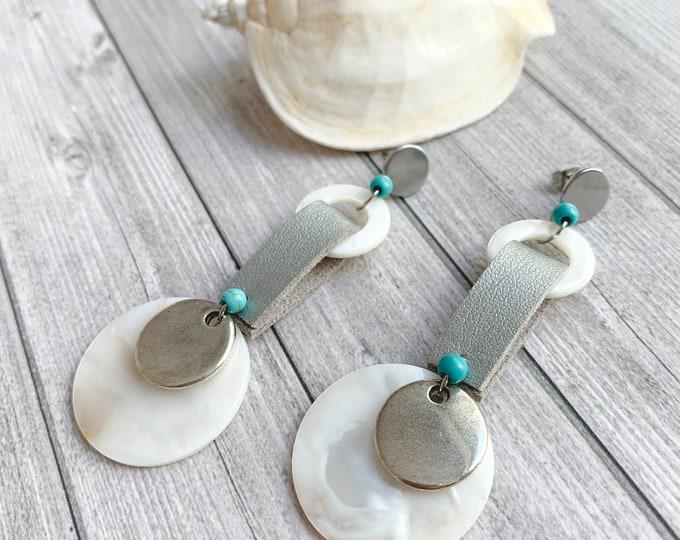 Statement mother of pearl disc earrings - big long circle earrings