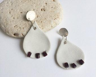 Porcelain tear drop earrings - ceramic and garnet stone earrings - sterling silver - statement porcelain jewelry - modern ceramic jewelry