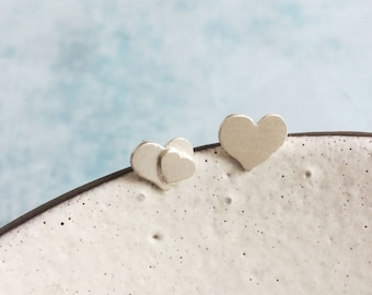 Asymmetrical heart stud earrings - mismatched silver earrings - tiny hearts earrings - minimalist jewelry - heart jewelry - girlfriend gift