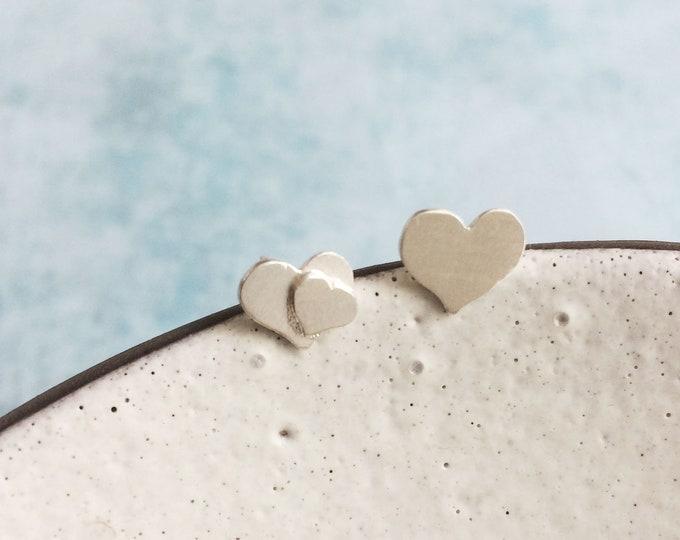 Asymmetrical heart stud earrings - mismatched silver earrings - tiny hearts earrings