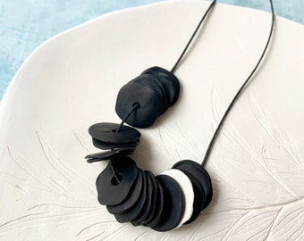 Long minimalist polymer clay necklace  - modern black and white clay necklace