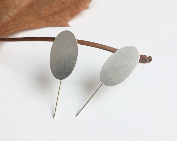Minimalist oval earrings - sterling silver - statement earrings - contemporary geometric jewelry - modern trendy jewelry - gift for woman