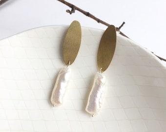 Modern drop baroque pearl stud earrings - oval brass post earrings