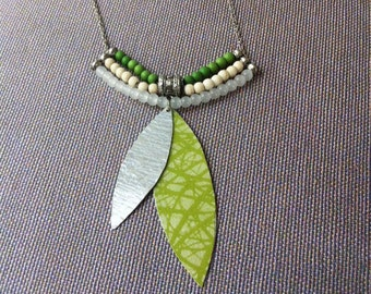 Paper leaf pendant necklace - boho chic necklace - paper jewelry - natural stones - beaded necklace - green and white - gift for her