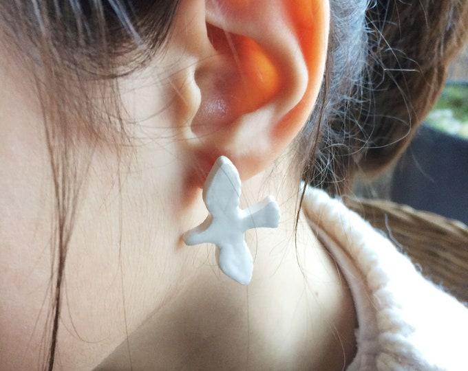 Ceramic bird earrings - stud bird earrings - white glazed stoneware - ceramic jewelry - nature inspired jewelry - flying bird jewelry