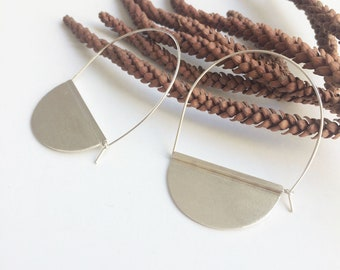 Sterling silver half moon hoop earrings - contemporary jewelry - geometric hoops - tribal earrings - bohemian silver jewelry - gift for her