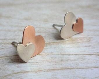 Silver and Copper hearts stud earrings - asymmetrical earrings - small heart earrings