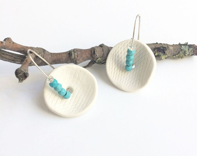 Statement porcelain and turquoise earrings - geometric ceramic earrings - modern ceramic jewelry  - contemporary porcelain jewelry