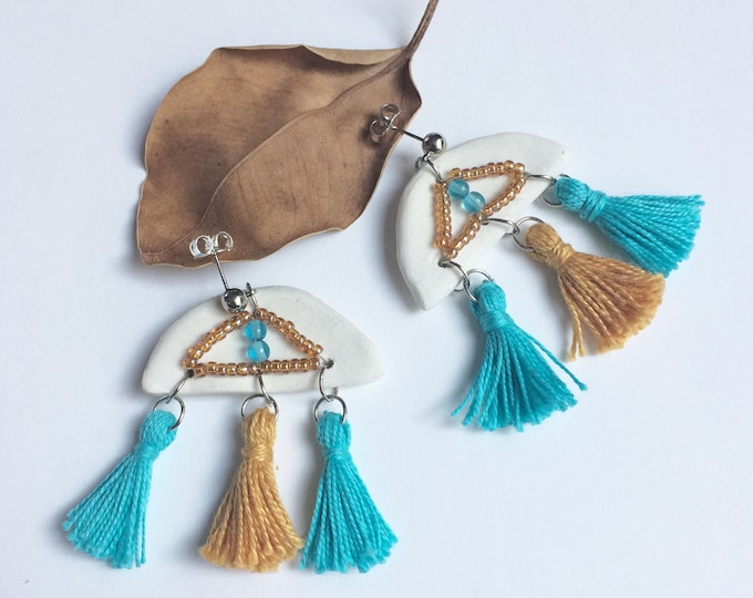 Porcelain tassel earrings - boho fringe earrings - beaded ceramic earrings - ceramic jewelry - statement porcelain jewelry - semicircle