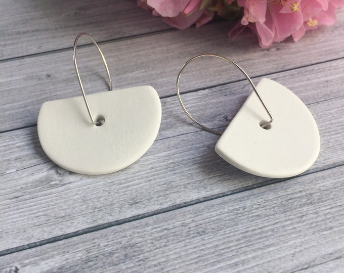 Statement geometric porcelain earrings - ceramic semi circle earrings