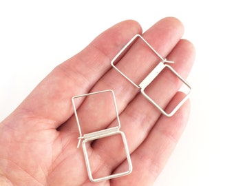 Square silver hoop earrings - minimalist geometric earrings