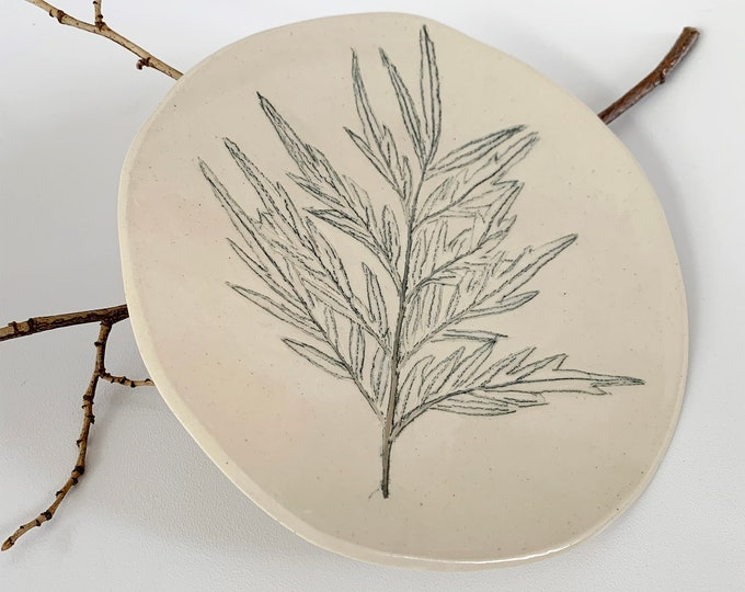 Pressed leaf ceramic plate - ceramic jewelry dish - nature inspired plate