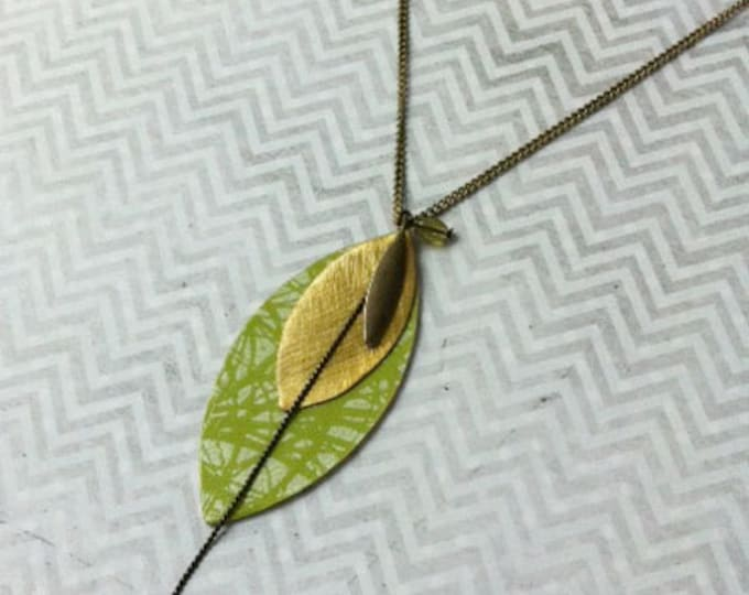 Boho Necklace leaf shape-boho chic necklace -lariat necklace -paper jewelry -lime green necklace -brass charm -gift for her -wood Y necklace