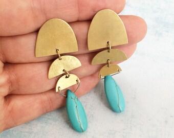 Statement turquoise earrings - half moon brass earrings - drop geometric earrings