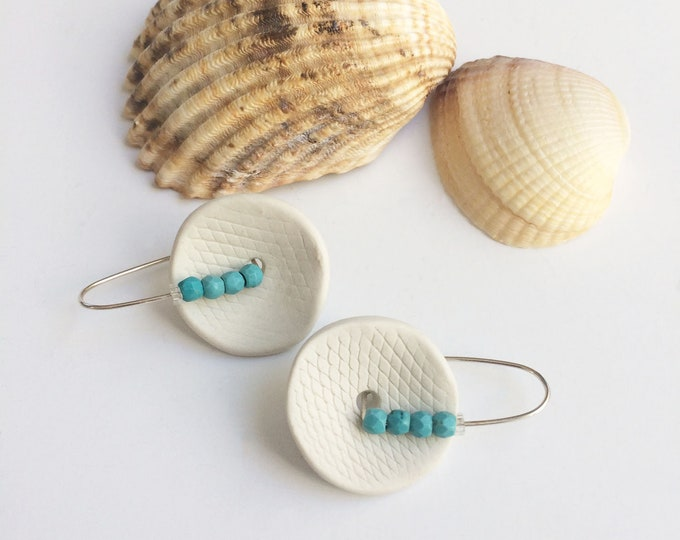 Statement porcelain and turquoise earrings - geometric ceramic earrings