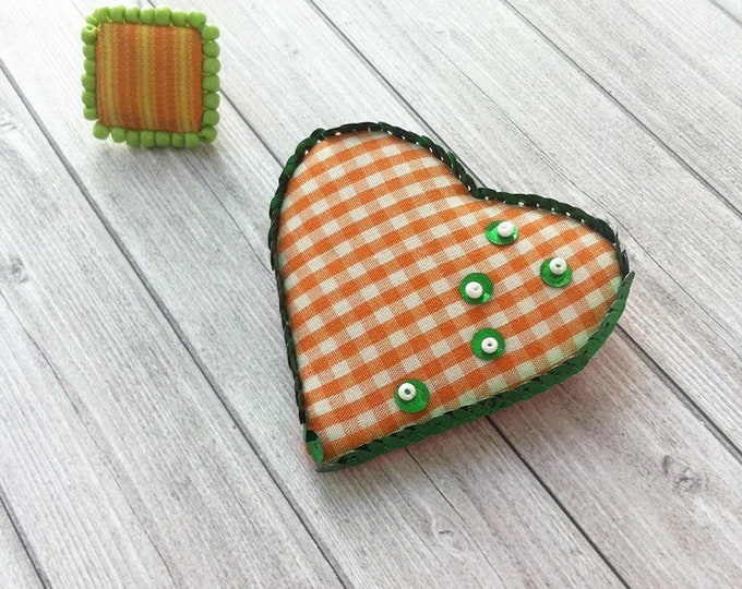 Jewelry set - fabric jewelry - fabric ring square - fabric brooch heart shape - textile jewelry