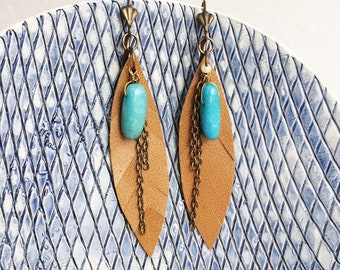 Leather feather earrings - boho earrings - turquoise brass earrings - beach jewelry - tropical vibes - chains ethnic earrings - gift for her