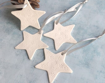 Set of 4 Porcelain star ornament for christmas tree - decorative ceramic star to hang - holiday home decor -house warming gift -gift for mom