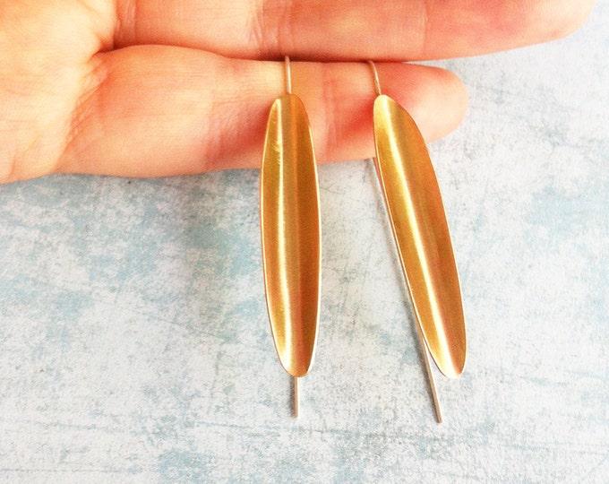 Brass and silver hook earrings - drop and dangle - golden earrings - leaf shape earring